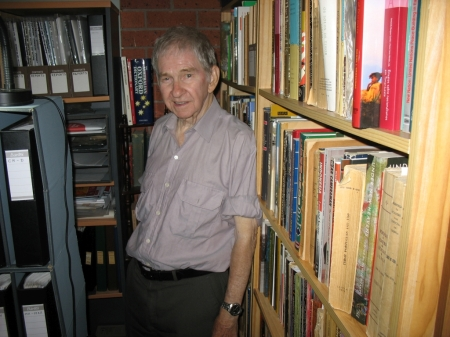 Kevin Sherlock at home in his own library/archive. June 2011
