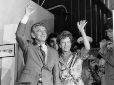 Bob Hawke, election tally room, 5 March 1983. [Source: ABC]