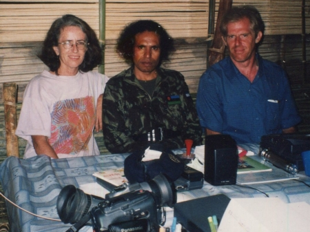 Andrew McNaughtan with Jude Conway and FALINTIL commander, Taur Matan Ruak