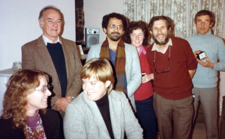 Herb Feith (second from right) with Jose Ramos-Horta and Australian Timor solidarity activists, c.1984. [Photo: Ian Bell]