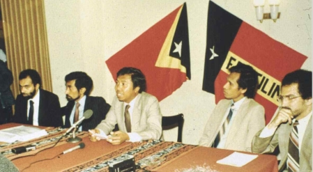 Fretilin external delegation, Lisbon. early 1980s. Abilio Araujo at centre. [Source AMRT]