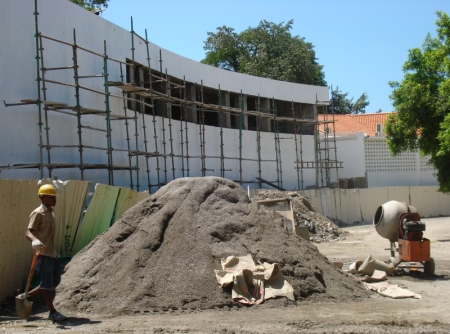 Audiovisual archive building under construction. Timorese Resistance Archive and Museum in background.