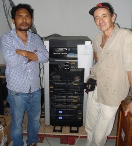 Max Stahl (r) and his technical assistant, Tony, with the new CAMS server equipment.