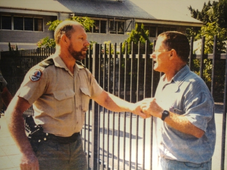 Konfrontasi: Wes being arrested outside the Indonesian Consulate, Darwin, 1999. [Source: Rob Wesley-Smith]